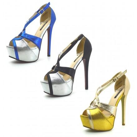 scarpe donna DECOLTè decollete tacco alto 15 colore metallicco Mary Jane plateau ebello.it