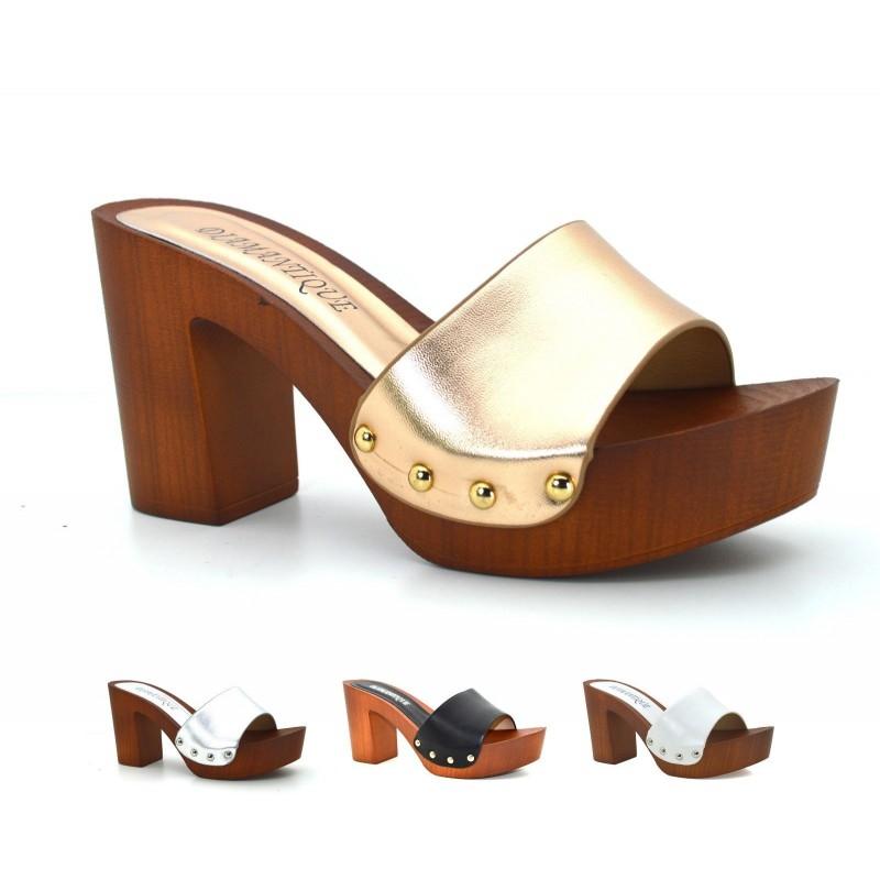 af7630f2b740d Sandali donna zoccoli mare con tacco e plateau effetto legno scarpe estive  ...
