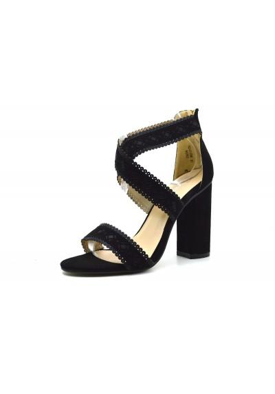 Sandali donna scamosciati tacco alto comodo scarpe aperte decolletè primaverili