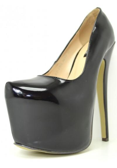 Decolletè lucida scarpe donna decolte con plateau e tacco alto 17 colore vernice