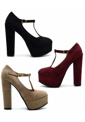 scarpe donna DECOLTè decollete tacco alto 13 eco scamosciata Mary Jane plateau
