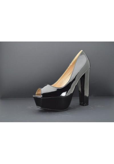 scarpe donna DECOLTè decollete spuntate con tacco alto 13 vernice lucida plateau