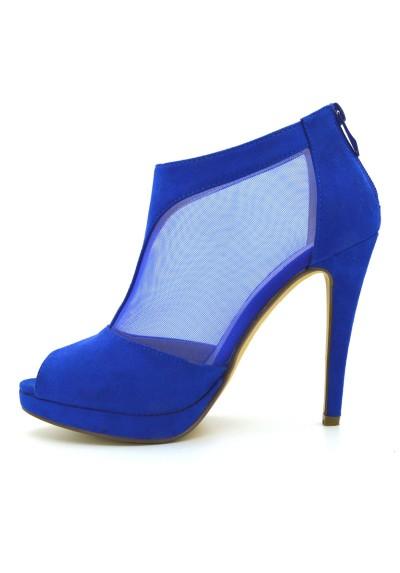 Tronchetti donna spuntati scarpe scamosciate con retina tacco alto a spillo