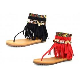 Sandali donna con frange sandaletti gladiatore scamosciati estivi scarpe aperte