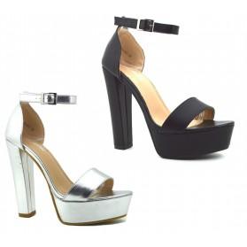 Scarpe sandali donna con tacco alto e plateau decolte decolletè estive