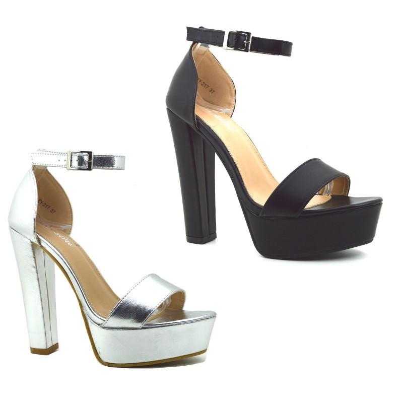 e4827a6c86f27 Scarpe sandali donna con tacco alto e plateau decolte decolletè estive ...