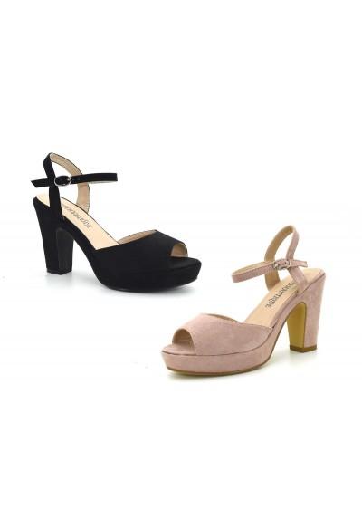 Scarpe Donna Sandali comodi scarpa con tacco largo estiva scamosciata e plateau